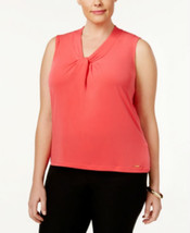 Calvin Klein Plus Size Knotted Shell DARK CORAL  SIZE 3X - $17.88