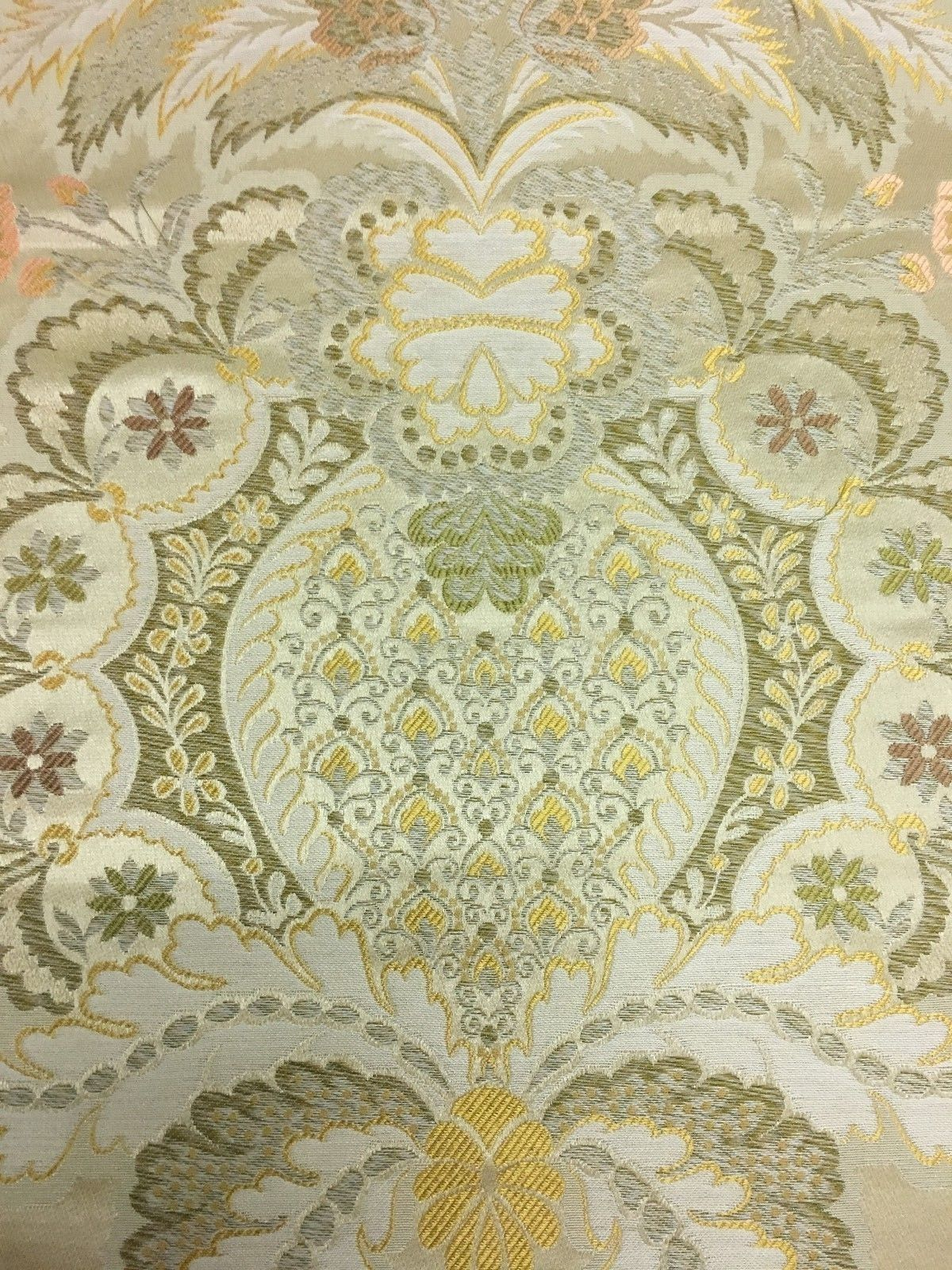 Damask Tela para Tapizar Múltiple Piezas Floral Dorado 3.1m Df