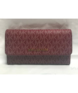 Original Michael Kors Jet Set Travel Large Trifold Wallet - Oxblood - $62.89