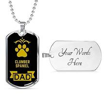 Dog Lover Gift Clumber Spaniel Dad Dog Necklace Engraved Stainless Steel... - $50.44