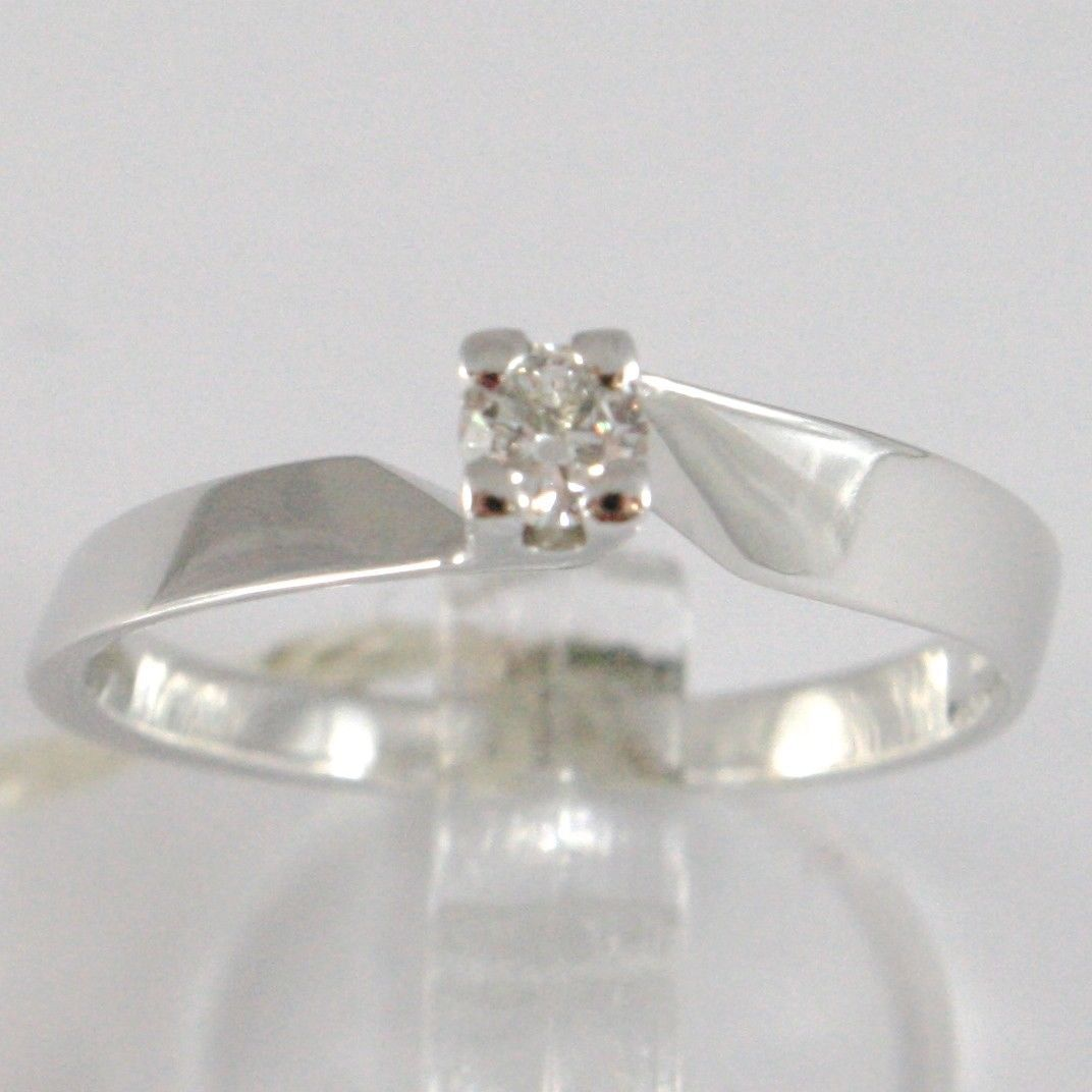 WHITE GOLD RING 750 18K, SOLITAIRE, SQUARED CRISS CROSSED, DIAMOND, CT 0.15