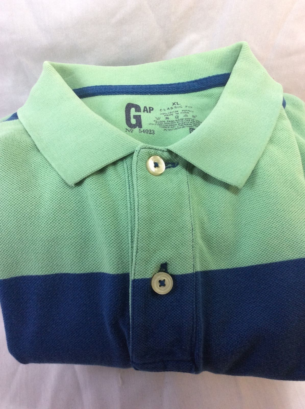 Men Polo Shirt GAP XL Classic Fit, 100% Cotton, Striped Blue and Green.
