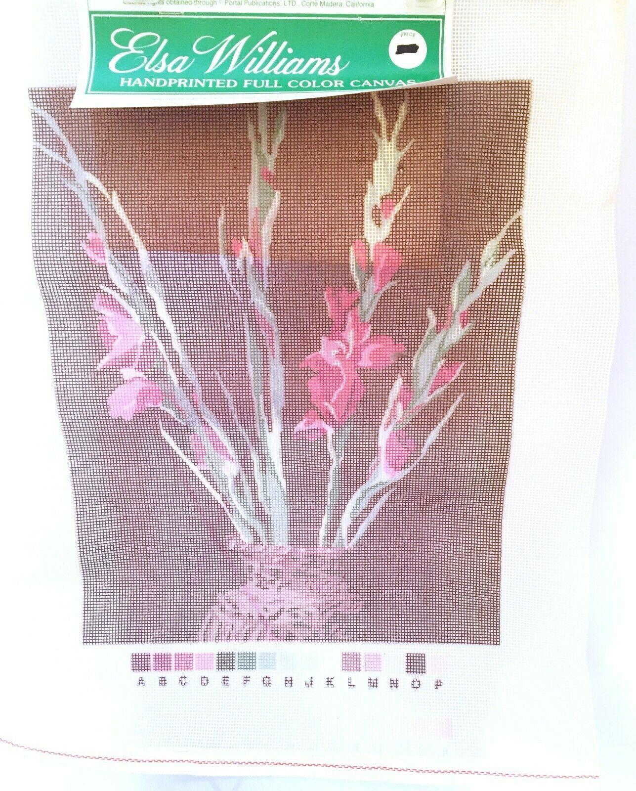 "Gladiola Vase Needlepoint Canvas 11"" x 14"" Elsa Williams 13 Mesh Orange Line - $12.36"