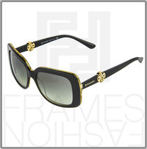 BVLGARI INTARSIO 8146B 5325/11 Black Gold Sunglasses 8146 Square Women Gradient image 8