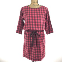 GAP Dress Sm S Red Black Plaid Drawstring Waist Big Pocket Shift 3/4 Sl ... - $14.95
