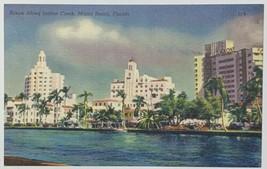 Old Vintage Linen Era Postcard Scene Along Indian Creek, Miami Beach, Fl... - $12.69
