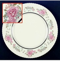 Sachet by Lenox Scalloped, Floral Rim, Platinum Ring Individual Dinner P... - $28.04
