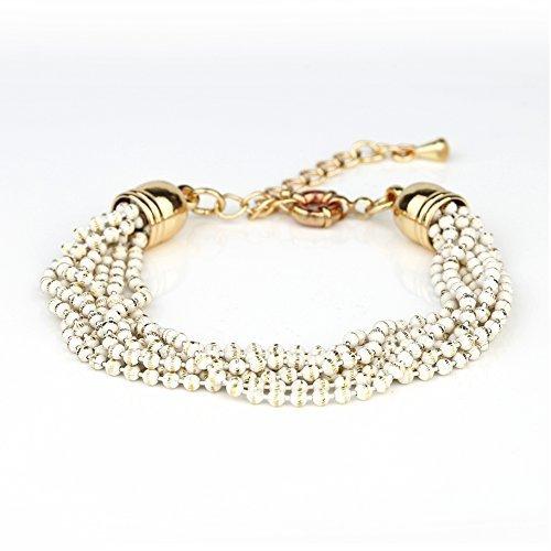 UE- Striking Multi Strand Gold Tone Designer Beaded Bracelet With White Overlay