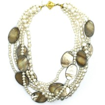 18K YELLOW GOLD 5 WIRES MULTI STRAND NECKLACE OVAL MOTHER OF PEARL, WHITE PEARLS image 2
