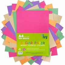 A4 Sugar Paper - 200 x Bright Coloured Sheets - 21001 - Made in UK by Ivy - ₹820.66 INR
