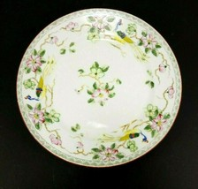 Japanese Hand Painted Dish with Peacocks & Flowers 8.5 Inches Nippon - $13.42