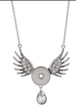 "Angel Wings Rhinestone Pendant 18-20mm Snap Charm Necklace 30"" For Ginge... - $19.95"
