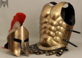 MUSCLE ARMOR & 300 MOVIE HELMET BRASS FINISH COLLECTIBLE HALLOWEEN COST - $230.00