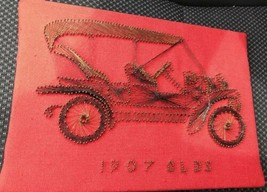 Red 1907 Olds Vintage Car String Art 8 X11 Felt Covered 1970s Wall Art H... - $32.73