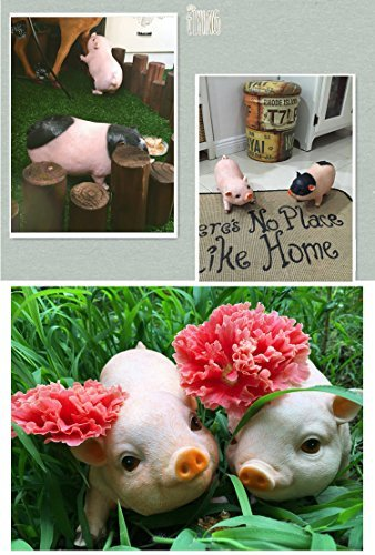 Agirlgle Animal Garden Statue - Cute Pig - Funny Outdoor Sculpture Resin Lawn Or