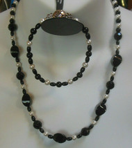 Vintage Black Glass Bead & Faux Pearl Necklace & Bracelet  - $37.62