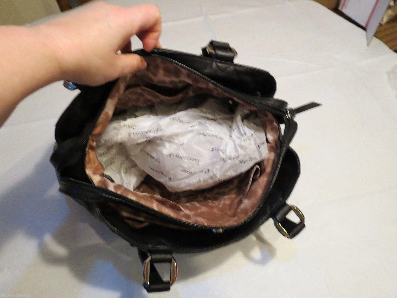 B. Makowsky black soft leather purse tote hand bag organizer computer laptop image 4