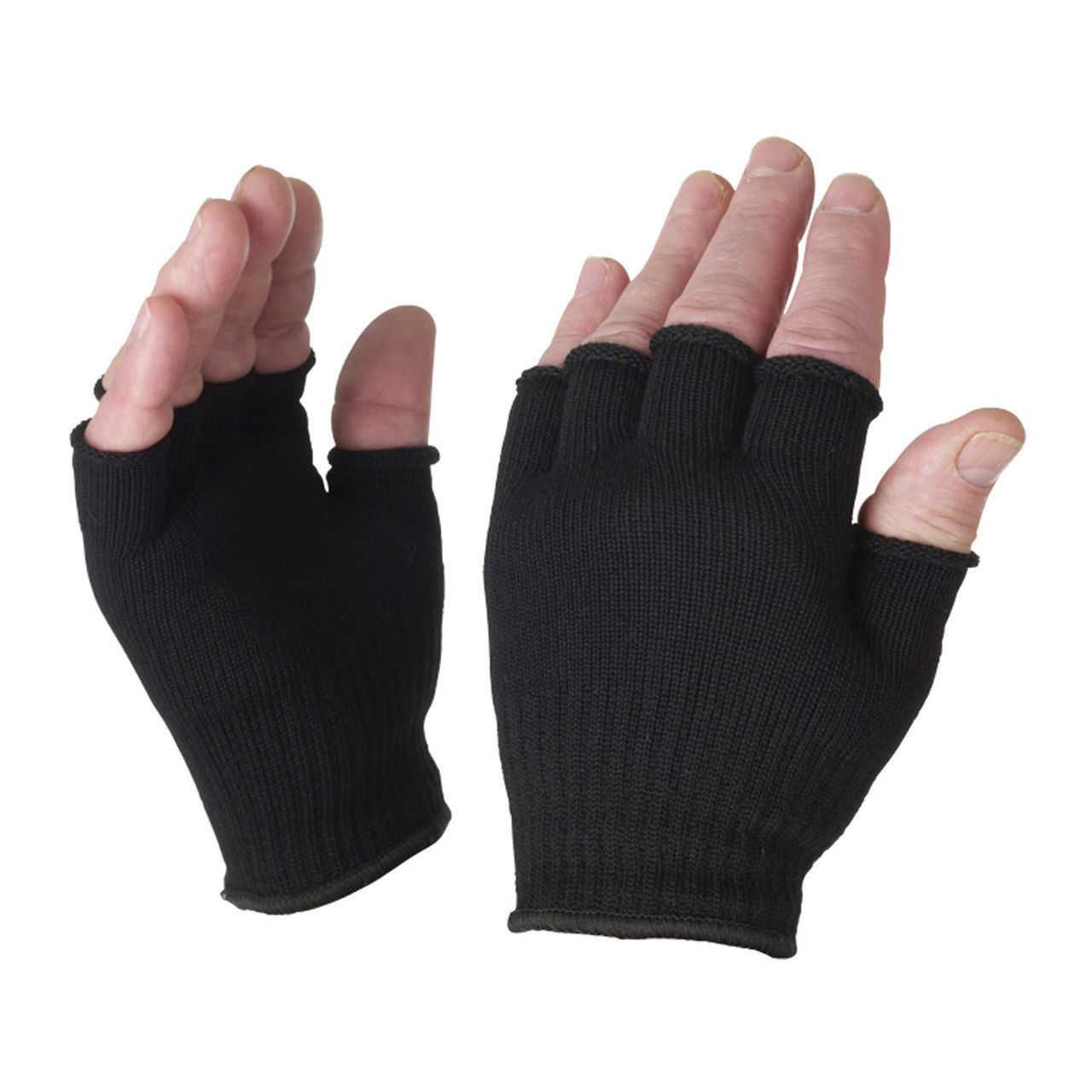 Fingerless Gloves Wholesale | Black Knit Bulk 12PK 5075D
