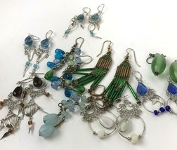 Vtg Earring lot pierced colorful dangler boho hippy glass beads - $23.71