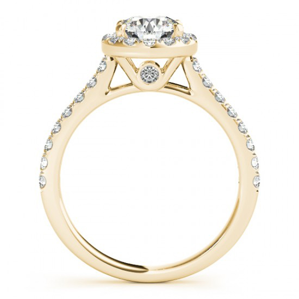 14k Yellow Gold 925 Sterling Silver Round Cut White CZ Women's Engagement Ring