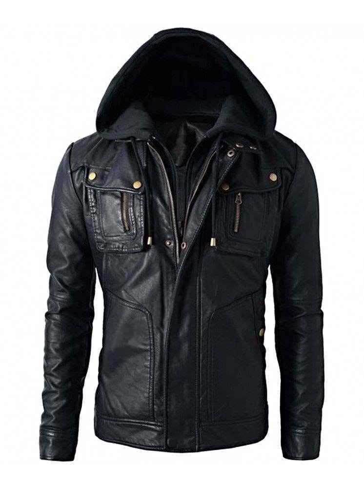 New Men's Motorcycle Brando Style Biker Real Leather Hoodie Jacket - Detach Hood - $69.29 - $108.89