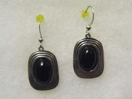 Pair Of Pierced Earrings Black Silver Tone Costume Fashion Jewelry - $10.66