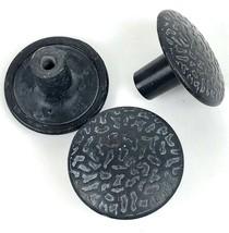 Vintage Hyer Drawer Knobs Cabinet Pulls Handles 3 Pc Dark Metal Mushroom  image 1