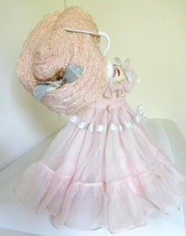 "Vintage Mary Hoyer Pink Chiffon Party Dress Gown & Hat for Early 14"" Doll - $85.99"