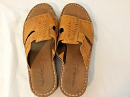 Natural Soul Naturalizer Size 9 1/2 M Taupe Boho Chic Leather Sewn Inner Flatbed - $39.95