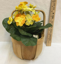 Yellow Flower Silk Artificial House Plant Potted & Basket w/ Liner Wood ... - $16.82