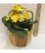 Yellow Flower Silk Artificial House Plant Potted & Basket w/ Liner Wood Lot 2 - $16.82