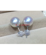 Top 12-13MM round real NATURAL SOUTH SEA white PEARL stud EARRINGS 18K gold - $751.15