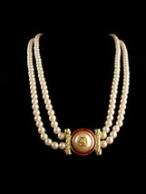 "LARGE designer pearl necklace / Richelieu enamel eagle  / 28""  wedding j... - $95.00"