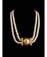 "LARGE designer pearl necklace / Richelieu enamel eagle  / 28""  wedding j... - $95.00"