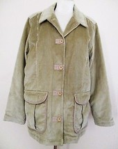 L.L. Bean Peacoat Coat tan cotton corduroy XL Reg Ladies - $48.50