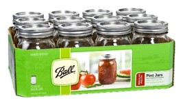 Ball Mason Canning Jars 16oz Pint Regular Mouth Jar 12 set Lids & Bands ... - $27.17
