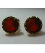 Vintage Signed Goldette Amber Cameo Intaglio Glass Screw Back Earrings - £41.64 GBP