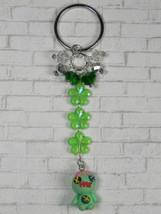 Disney Scrump Flower Crystal Beaded Handmade Split Ring Keychain Green New - $16.48