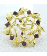 VTG Gold Tone Purple Rhinestone Bird Wreath Pin Brooch - $19.80