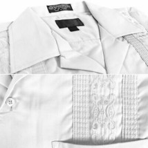 Men's Guayabera Beach Wedding  Short Sleeve White Dress Shirt w/ Defect 4XL image 2