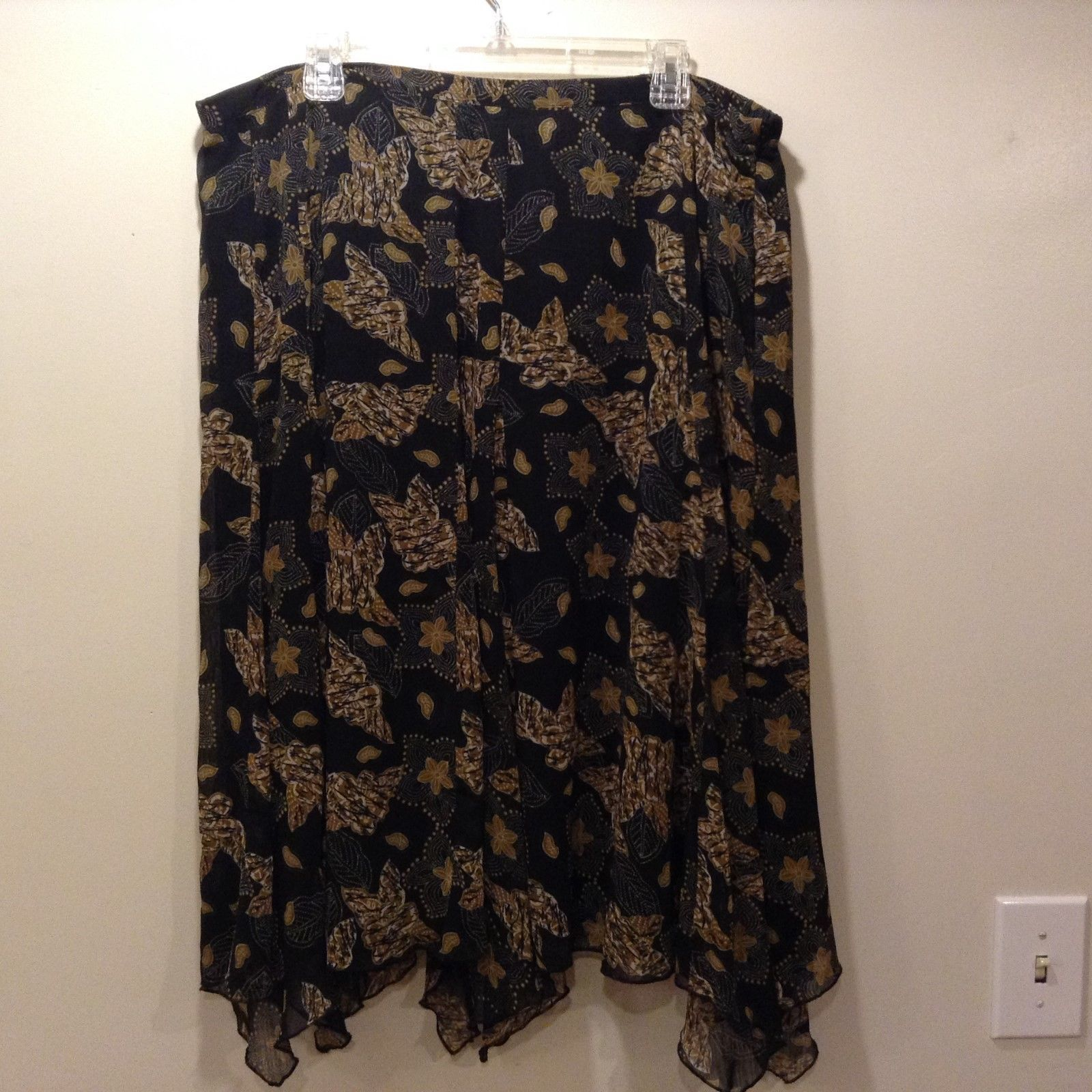 John Paul Richard Sheer w Solid Blk Lining Multicolor Floral Flared Skirt Sz 1X