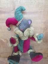 Holiday Jester Bear, 12 inch Carved Wooden Bear, Articulated Body, Dan D... - $18.70