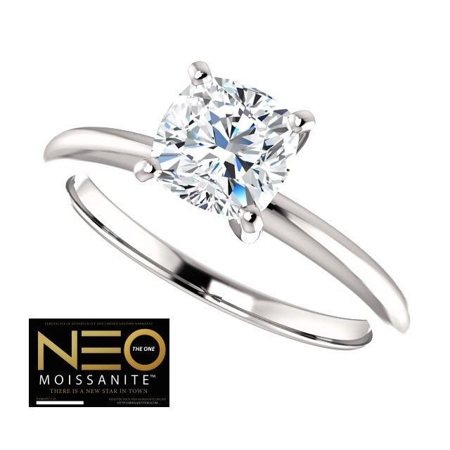 1.00 Carat (6mm) NEO Moissanite Cushion Ring in 14K Gold (with NEO warranty)