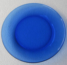 "Arcoroc Cobalt Blue Thick Glass Side Plate 7 1/2""- New- Made In France - $8.99"
