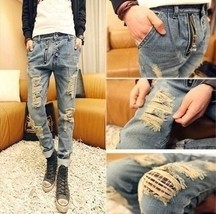 2018 New2018 Personality Men's ripped jeans male harem pants - $41.82