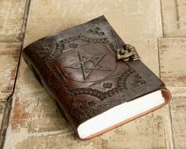 Brown Leather Journal Spellbook, Embossed Pentagram, Brass Latch, Antiqued - $21.04