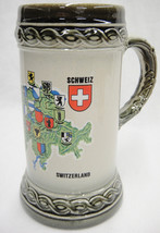Gerzit Switzerland Stein Mug Map with Crests Made in West Germany Excellent - $21.77