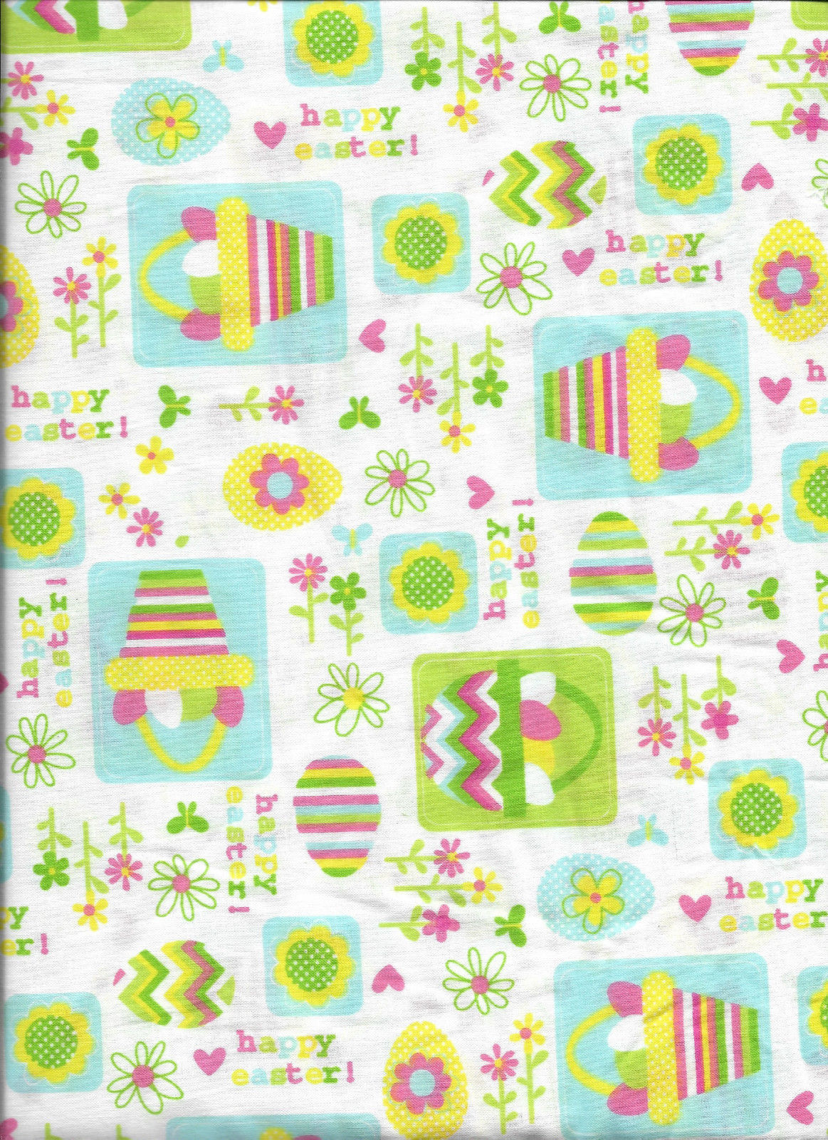 Spring Happy Easter with Flowers Baskets and Eggs 100% Cotton Fabric by the Yard