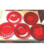 5 Vintage Red Thumbprint Salad Plates Depression Glass 7.75 Inch - $31.99