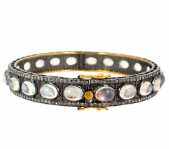 14 K Gold Moonstone Bangle Bracelet 925 Silver Pave 2.63ct Diamond Vinta... - $1,079.41